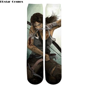 Plstar Cosmos new Tomb Raider 3D High Socks Men Women high quality 3D print socks Fantasy Action drop shipping