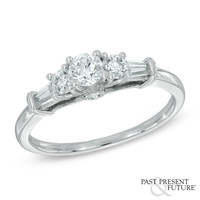3/4 CT. T.W. Diamond Past Present Future® Engagement Ring in 14K White Gold