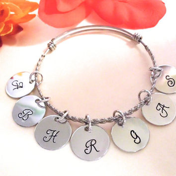 Initial Jewelry, Initial Bracelet, Mommy Bracelet, Hand Stamped, 1 to 15 AL Mirror Discs, Stainless Steel Braided Bangle