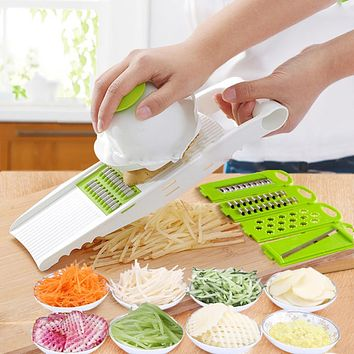 Multi Potato Slicer Vegetables Cutter with 5 Stainless Steel Blade Carrot Grater Onion Slicer Kitchen Accessories