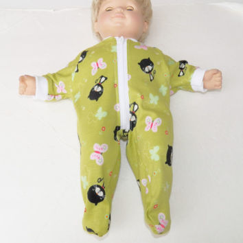 "Bitty Baby Clothes, fits 15"" Girl Doll, Green Kitty Cat Pajamas Sleeper HANDMADE"