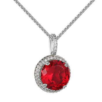 "Red Ruby CZ Pendant Silver Tone Hip Hop Custom Round Solitaire Free 24"" Chain"