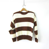striped sweater top 90s preppy knit Revival sweater Brown & White Thick Stripes Cotton knit shirt Crop Preppy Prep Womens size Medium