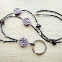 Love romantic purple ceramic rose crystal silver hearts beaded lanyard