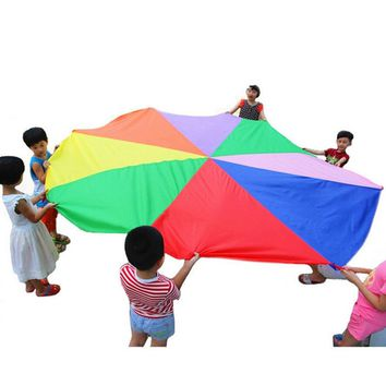 Outdoor Game 2 m Waterproof Umbrella Toy Children Kids Handles Teamwork Cooperative Play Rainbow Parachute Exercise Sport Toy