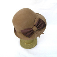 Women Camel Color Wool Felt Vintage Style Hat with by curtainroad