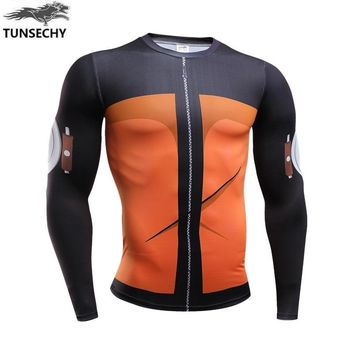 2017 New Fitness Compression will will t shirt Men naruto armor naruto Bodybuilding Long Sleeve 3 d t shirt Crossfit Tops Shirts