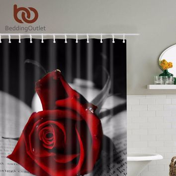 BeddingOutlet Red Roses With Black Leaves Shower Curtain Romantic Bathroom Curtains Fabric Set Hooks