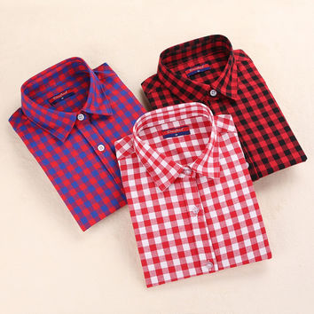 Plaid Shirt Women Casual Cotton Long Sleeve Blous Collar Button Camisetas