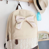 Fashion Cream Backpack With Red Floral Bow Lace