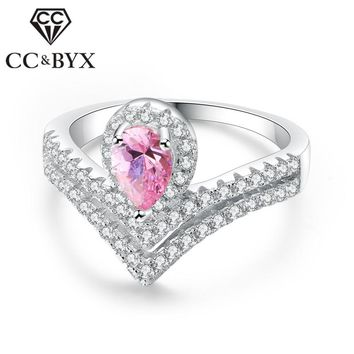 CC Bijouterie Rings For Women Unqiue Elegant Crown Pink Stone Ring Bridal Wedding Engagement Ladies Jewelry Anillos Mujer CC1090