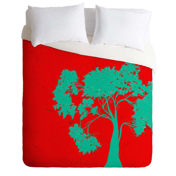 Madart Inc. Modern Design Red And Aqua Duvet Cover