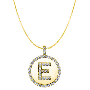 """E"" Diamond Initial 14K Yellow Gold Disk Pendant (0.53ct)"