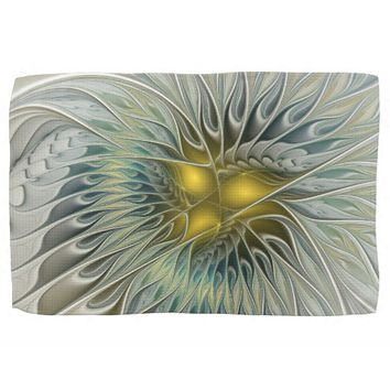 Golden Flower Fantasy, abstract Fractal Art Kitchen Towel