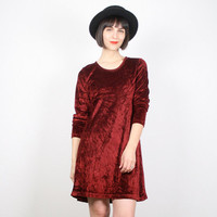 Vintage Crushed Velvet Dress Red Velvet Dress Mini Dress 90s Dress Grunge Dress Berry 1990s Dress Babydoll Dress Goth Dress S Small M Medium