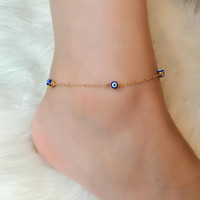 Fashion Anklet Bracelet Foot Jewelry Chram Turquoise Stone Gold Plate