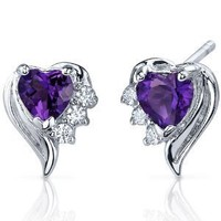 Amethyst Earrings Sterling Silver Heart Shape CZ Accent