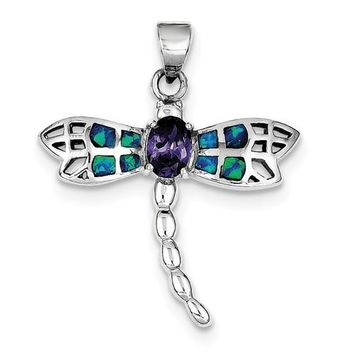 Sterling Silver Created Blue Opal and Amethyst Dragonfly Pendant