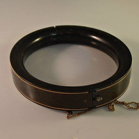 Gutta Percha Mourning Bangle Bracelet, Gold Inlay, HInged, One of Victorian Pair