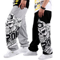 Loose Fit Skulls Print Loose Fit Lace Up Thin Sweatpants For Men