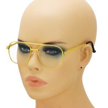 Old School Retro Style Hip Hop Mens Womens Nerdy Clear Lens Gold Square Glasses