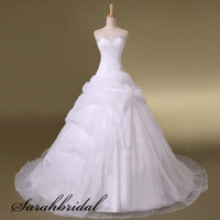 A-line Sweetheart Ruffled Real Trailing Wedding Ball Gown Bridal Wedding Dresses