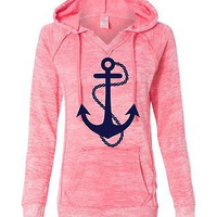 Women's Deep Coral Anchor Hoodie Sweatshirt Anchor
