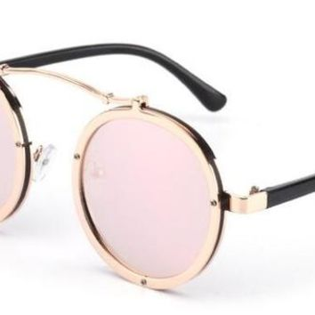 2018 Retro Round Steampunk Sunglasses  Oculos 1762