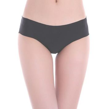 Women Invisible Underwear Thong Cotton Spandex Gas Seamless Crotch BK L