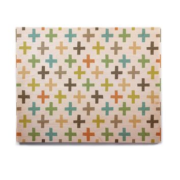 "Daisy Beatrice ""Hipster Crosses Repeat"" Multicolor Birchwood Wall Art"