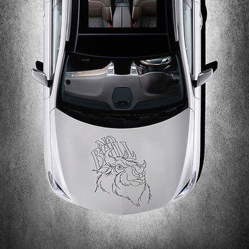 WICKED EVIL SERIOUS BULL ANIMAL DESIGN HOOD CAR VINYL STICKER ART DECALS SV1496