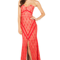 Bariano Check It Maxi Dress in Red Nude