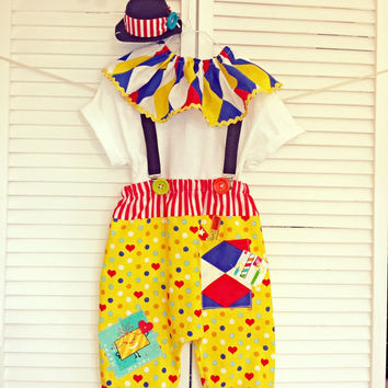 Boy Circus Clown Costume, Little Boys Birthday is a Circus! Carnival Theme Party/Boys Photo Prop/Boys Cake Smash/MYSWEETCHICKAPEA