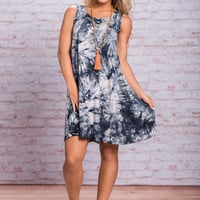 Smoke On The Water Dress, Navy