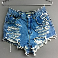 High Waisted Denim Shorts - Shredded