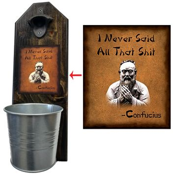 Confucius Bottle Opener and Cap Catcher, Wall Mounted
