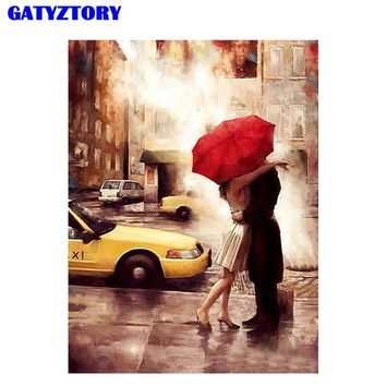 Frameless Kiss Lover Diy Digital Painting By Numbers Wall Art Acrylic Paint On Canvas Handpainted Oil Painting Gift 40x50cm Arts