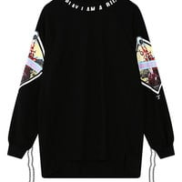 Graphic Print Asymmetric Sweatshirt