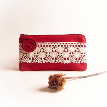 Rustic Wedding Clutch Purse, Cosmetic clutch pouch, bridesmaid gift idea, tango red, valentine's day