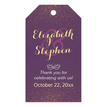 Chic Purple Gold Glitter Sparkle Wedding Thank You Gift Tags