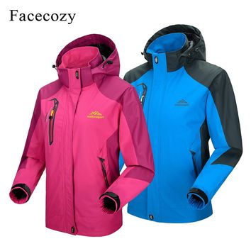 Facecozy Men Women Autumn Winter Outdoor Hiking Jacket Sports Trekking Hooded Jackets Unisex Warm Skiing Camping Fishing Coats