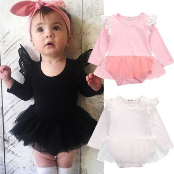 Cute Lace Ruffles Tulle Baby Long Sleeve Rompers