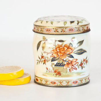 Vintage Round Daher Print Tea Tin Biscuit Jar, Flower Print Tin Storage Box, Cottage Decor, Made in England