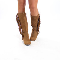 Tall Tan Side Fringe Boots - Modern Vintage Boutique
