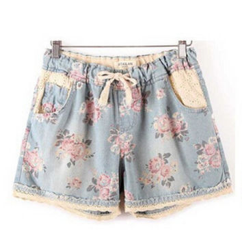 2015 Brand Designer  Women Summer Casual Denim Shorts  With Elastic High Waist Floral Star Printed short For Crop Top
