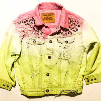 acid wash neon yellow and bright pink / Levi's by todyefordenim