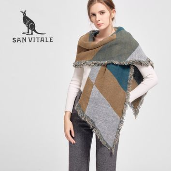 SAN VITALE Women's Scarves Shawls Winter Warm Scarf Luxury Brand Soft Fashion Wraps Wool Cashmere Plaid Scarf Bandana for Gifts