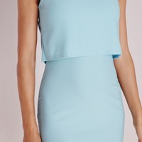 CREPE SLEEVELESS OVERLAY BODYCON DRESS POWDER BLUE