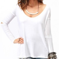 Dip Hem Top With Cutout Sleeve Detail