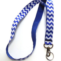 Royal Blue and White Striped, Chevron Ribbon Lanyard, Key Holder, ID Holder
